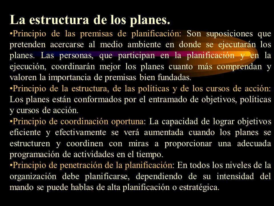 La estructura de los planes.