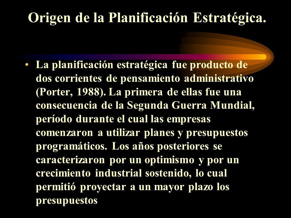 Origen de la Planificación Estratégica.