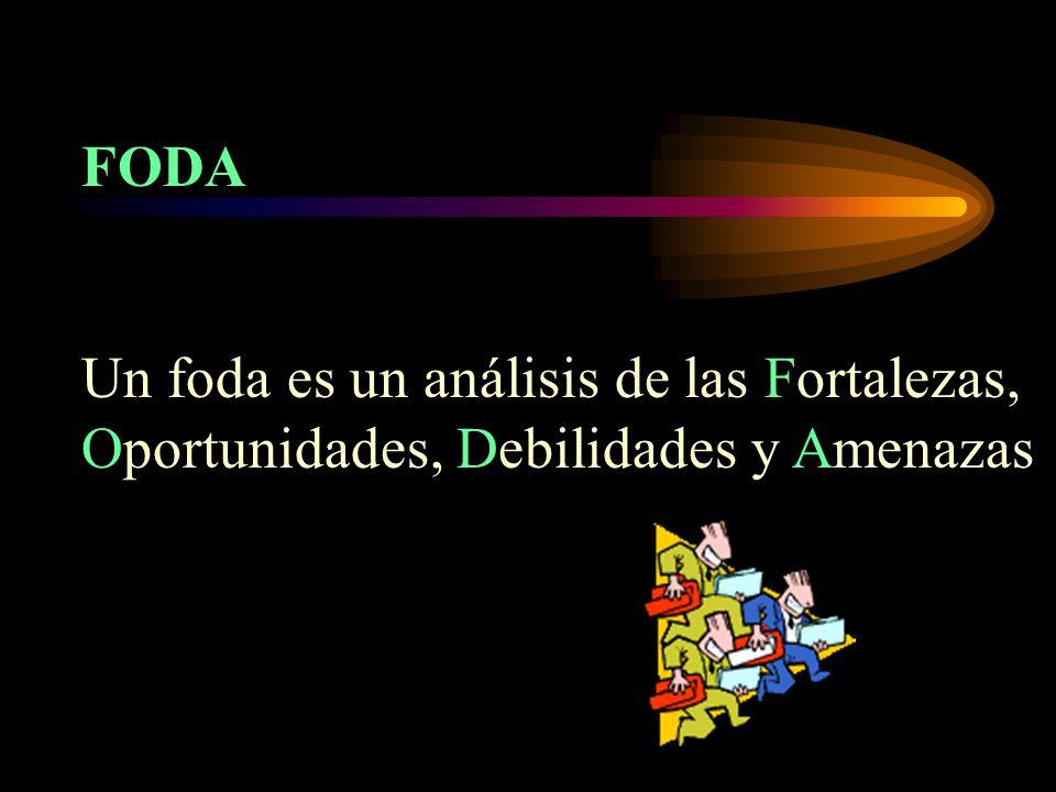 FODA Un foda es un análisis de las Fortalezas, Oportunidades, Debilidades y Amenazas