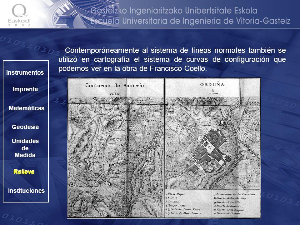 Contemporáneamente al sistema de líneas normales también se utilizó en cartografía el sistema de curvas de configuración que podemos ver en la obra de Francisco Coello.
