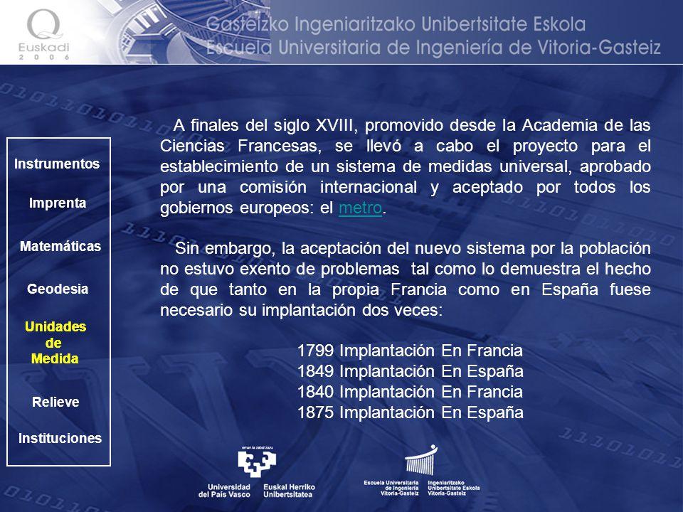1799 Implantación En Francia 1849 Implantación En España