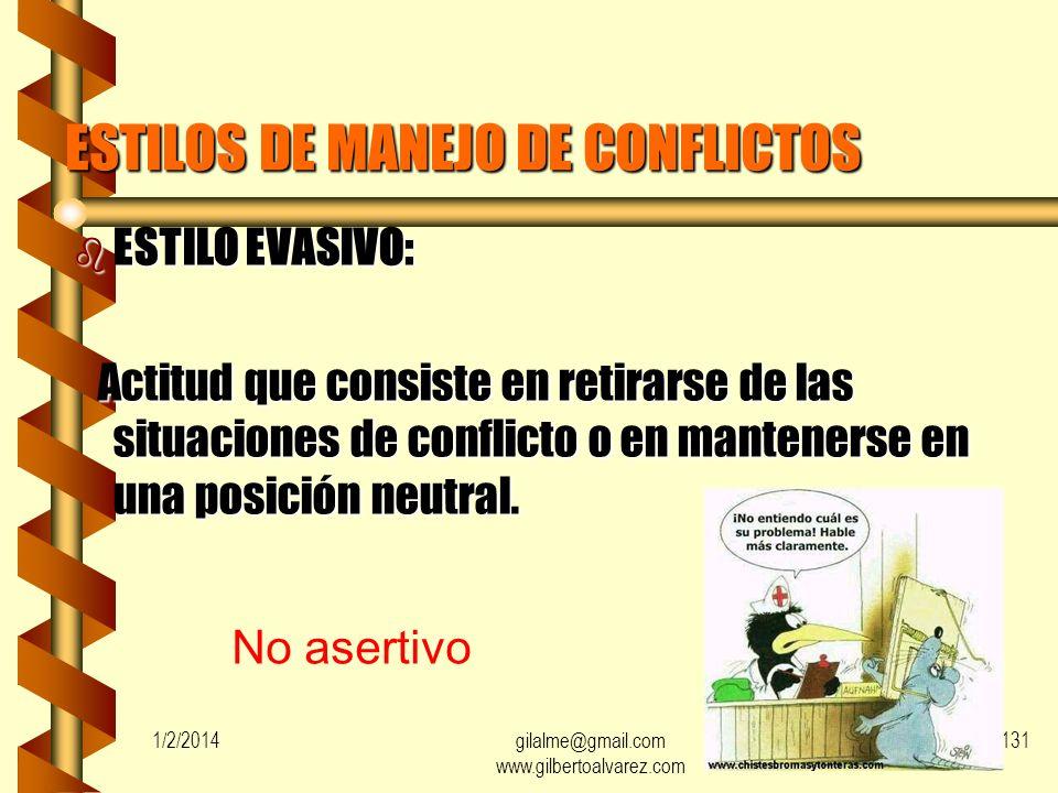ESTILOS DE MANEJO DE CONFLICTOS