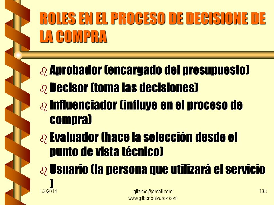 ROLES EN EL PROCESO DE DECISIONE DE LA COMPRA