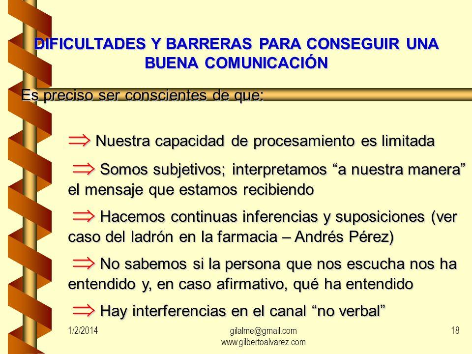 DIFICULTADES Y BARRERAS PARA CONSEGUIR UNA BUENA COMUNICACIÓN