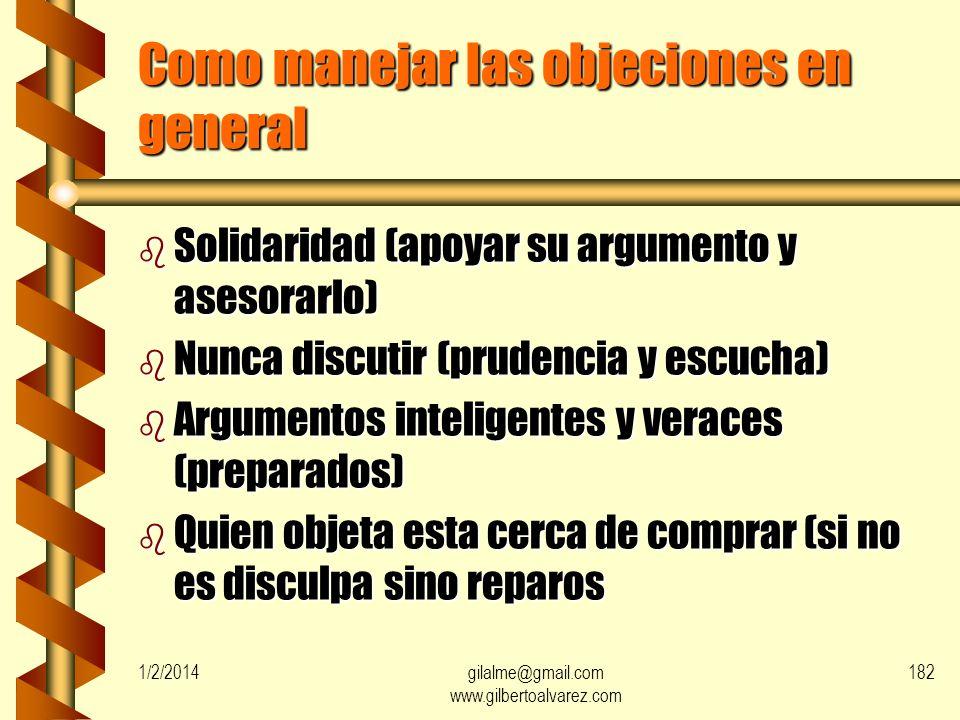 Como manejar las objeciones en general
