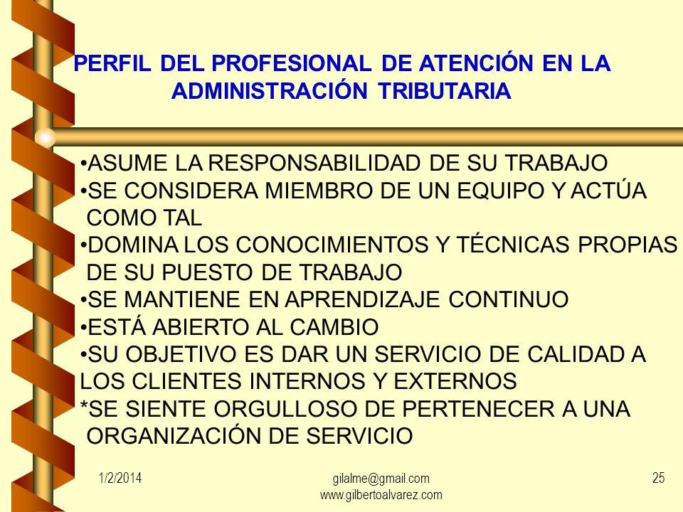 PERFIL DEL PROFESIONAL DE ATENCIÓN EN LA ADMINISTRACIÓN TRIBUTARIA
