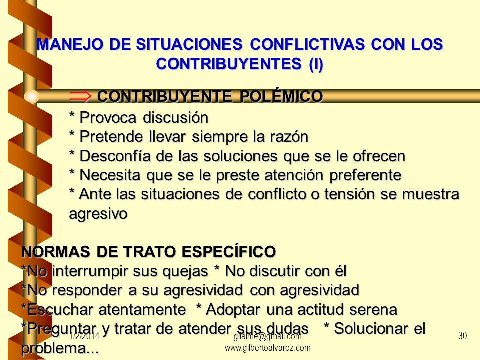 MANEJO DE SITUACIONES CONFLICTIVAS CON LOS CONTRIBUYENTES (I)