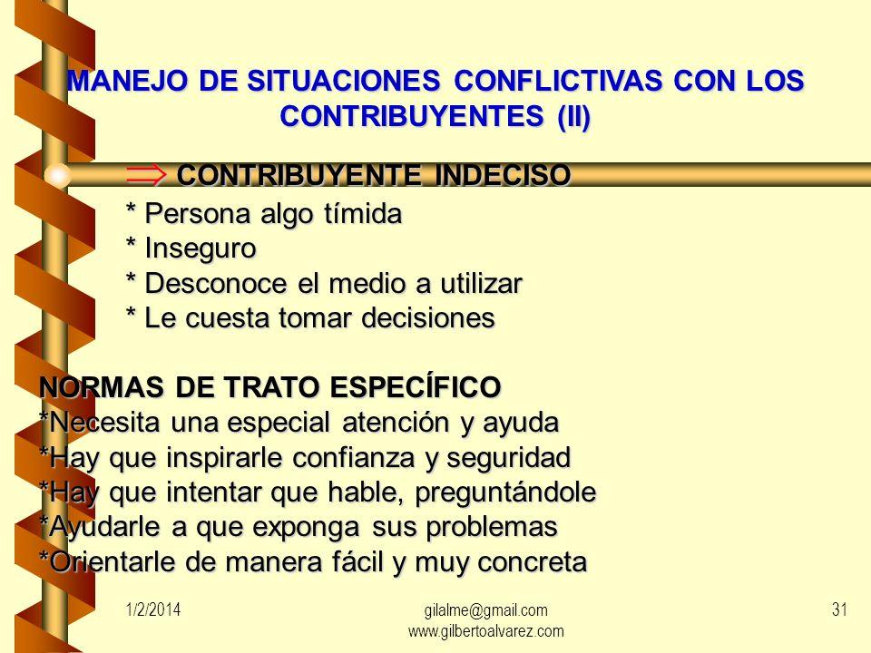 MANEJO DE SITUACIONES CONFLICTIVAS CON LOS CONTRIBUYENTES (II)