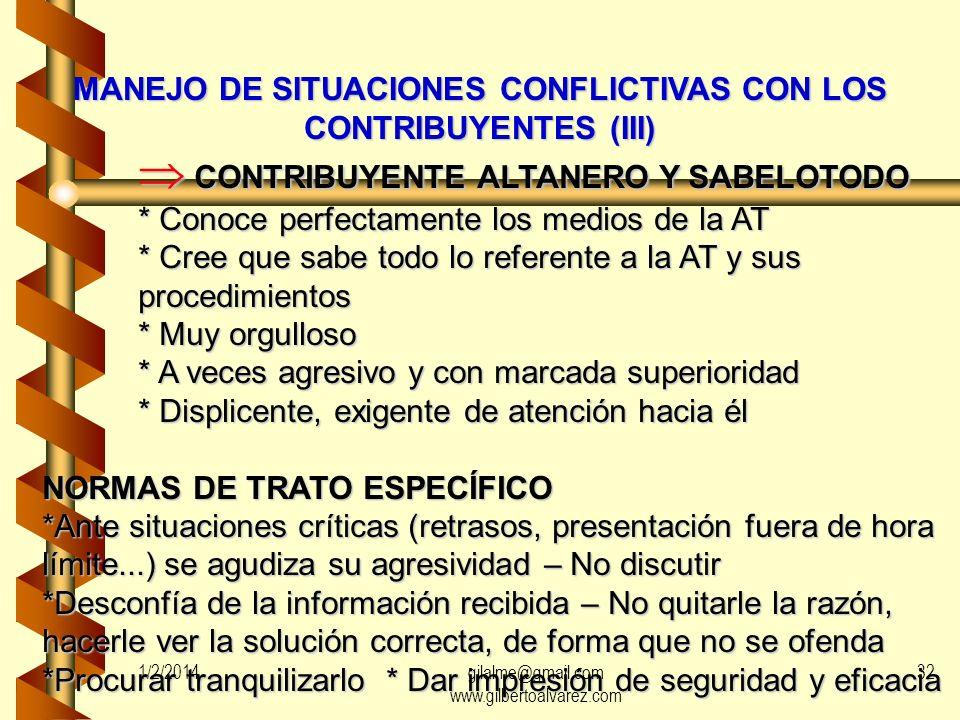 MANEJO DE SITUACIONES CONFLICTIVAS CON LOS CONTRIBUYENTES (III)