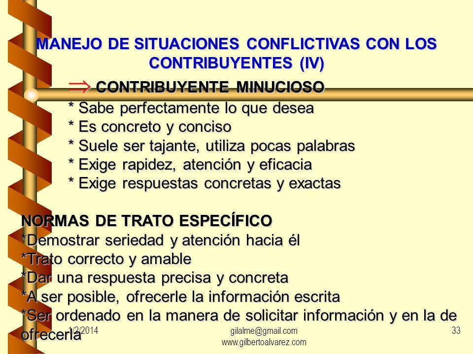 MANEJO DE SITUACIONES CONFLICTIVAS CON LOS CONTRIBUYENTES (IV)
