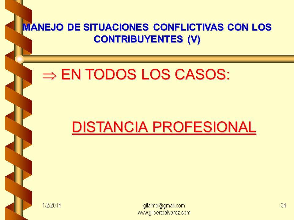 MANEJO DE SITUACIONES CONFLICTIVAS CON LOS CONTRIBUYENTES (V)