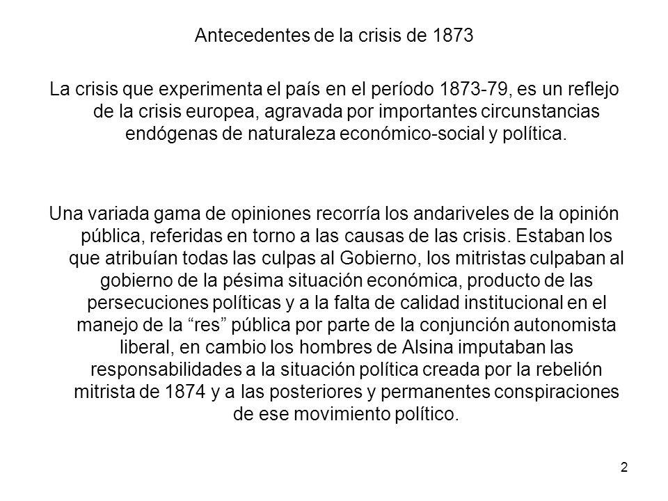 Antecedentes de la crisis de 1873 La crisis que experimenta el país en el período 1873-79, es un reflejo de la crisis europea, agravada por importantes circunstancias endógenas de naturaleza económico-social y política.