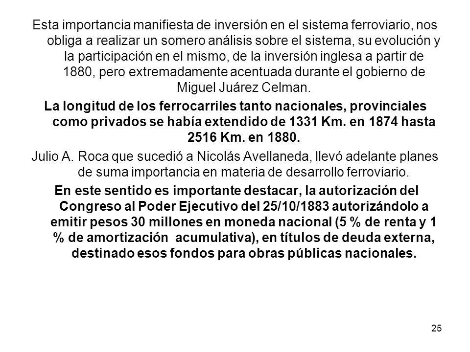 Esta importancia manifiesta de inversión en el sistema ferroviario, nos obliga a realizar un somero análisis sobre el sistema, su evolución y la participación en el mismo, de la inversión inglesa a partir de 1880, pero extremadamente acentuada durante el gobierno de Miguel Juárez Celman.