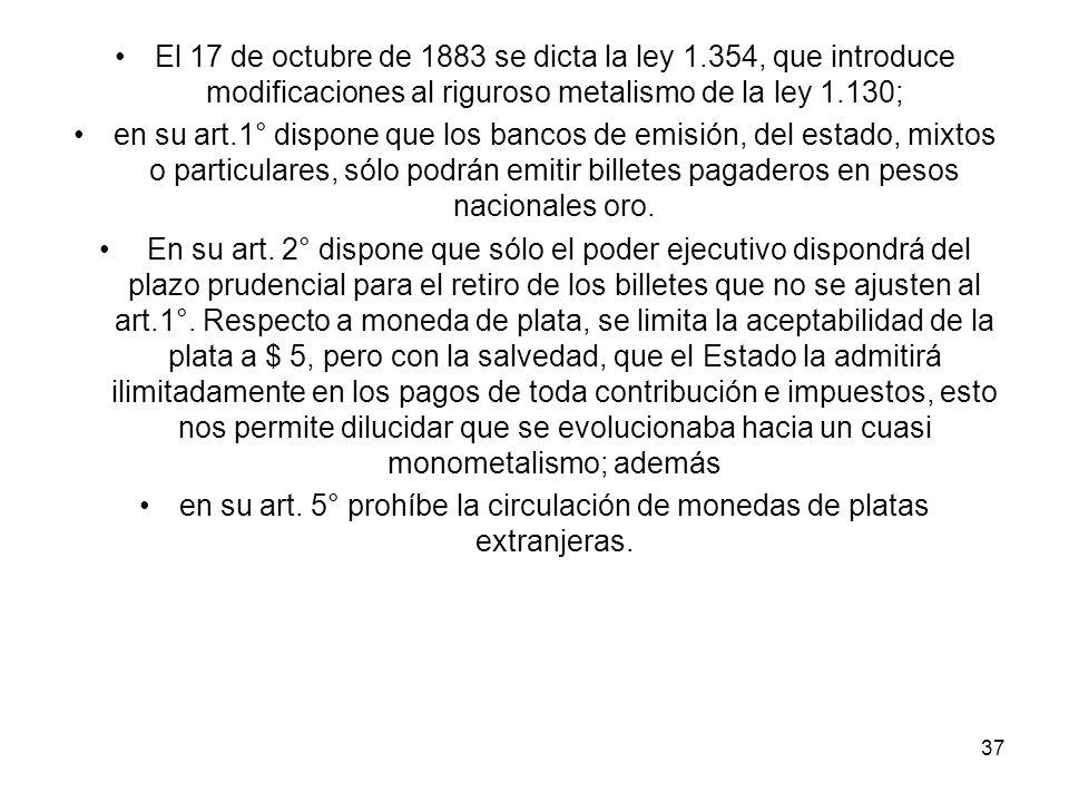 en su art. 5° prohíbe la circulación de monedas de platas extranjeras.