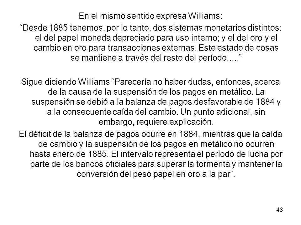En el mismo sentido expresa Williams: Desde 1885 tenemos, por lo tanto, dos sistemas monetarios distintos: el del papel moneda depreciado para uso interno; y el del oro y el cambio en oro para transacciones externas.