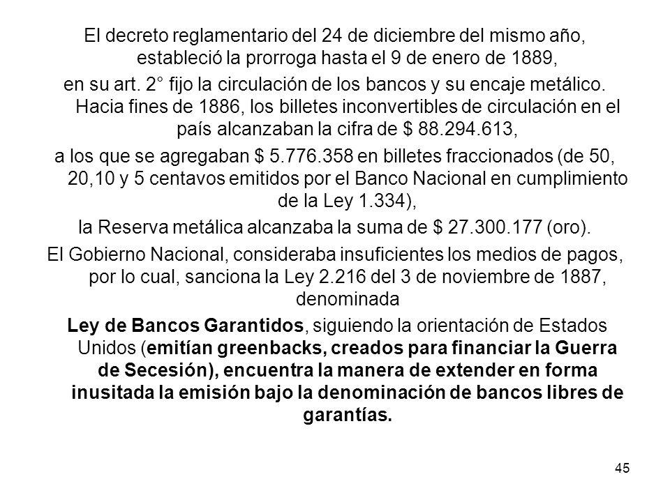la Reserva metálica alcanzaba la suma de $ 27.300.177 (oro).