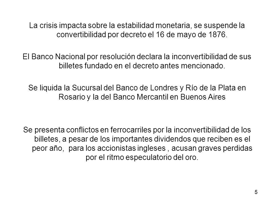 La crisis impacta sobre la estabilidad monetaria, se suspende la convertibilidad por decreto el 16 de mayo de 1876.