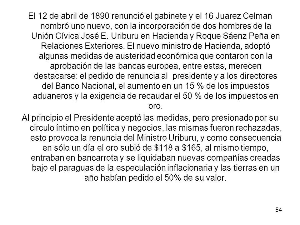 El 12 de abril de 1890 renunció el gabinete y el 16 Juarez Celman nombró uno nuevo, con la incorporación de dos hombres de la Unión Cívica José E.