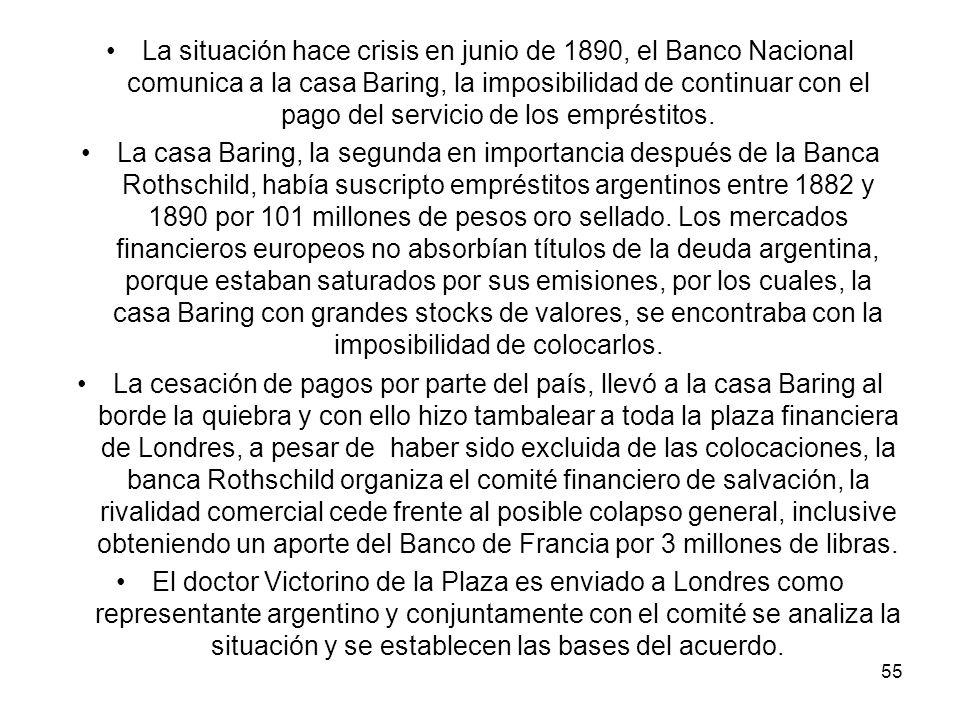 La situación hace crisis en junio de 1890, el Banco Nacional comunica a la casa Baring, la imposibilidad de continuar con el pago del servicio de los empréstitos.