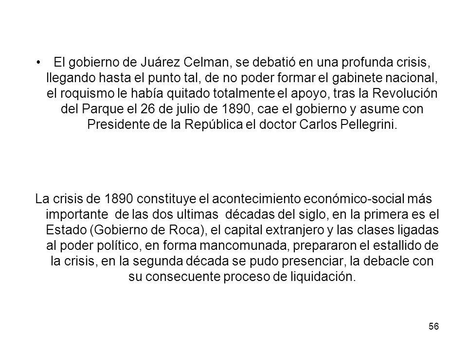 El gobierno de Juárez Celman, se debatió en una profunda crisis, llegando hasta el punto tal, de no poder formar el gabinete nacional, el roquismo le había quitado totalmente el apoyo, tras la Revolución del Parque el 26 de julio de 1890, cae el gobierno y asume con Presidente de la República el doctor Carlos Pellegrini.