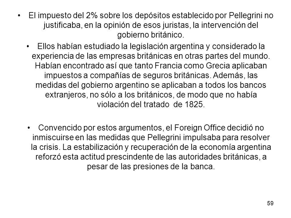 El impuesto del 2% sobre los depósitos establecido por Pellegrini no justificaba, en la opinión de esos juristas, la intervención del gobierno británico.