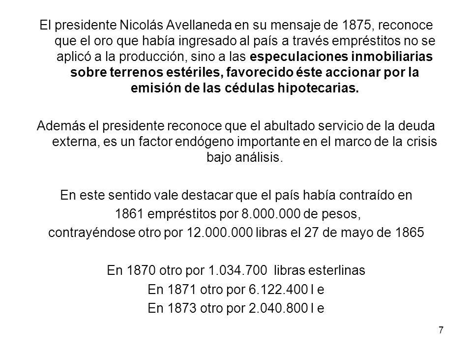El presidente Nicolás Avellaneda en su mensaje de 1875, reconoce que el oro que había ingresado al país a través empréstitos no se aplicó a la producción, sino a las especulaciones inmobiliarias sobre terrenos estériles, favorecido éste accionar por la emisión de las cédulas hipotecarias.