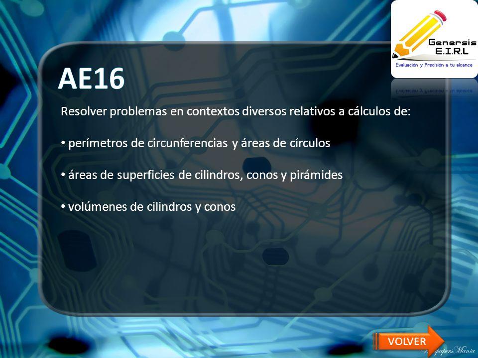 AE16 Resolver problemas en contextos diversos relativos a cálculos de: