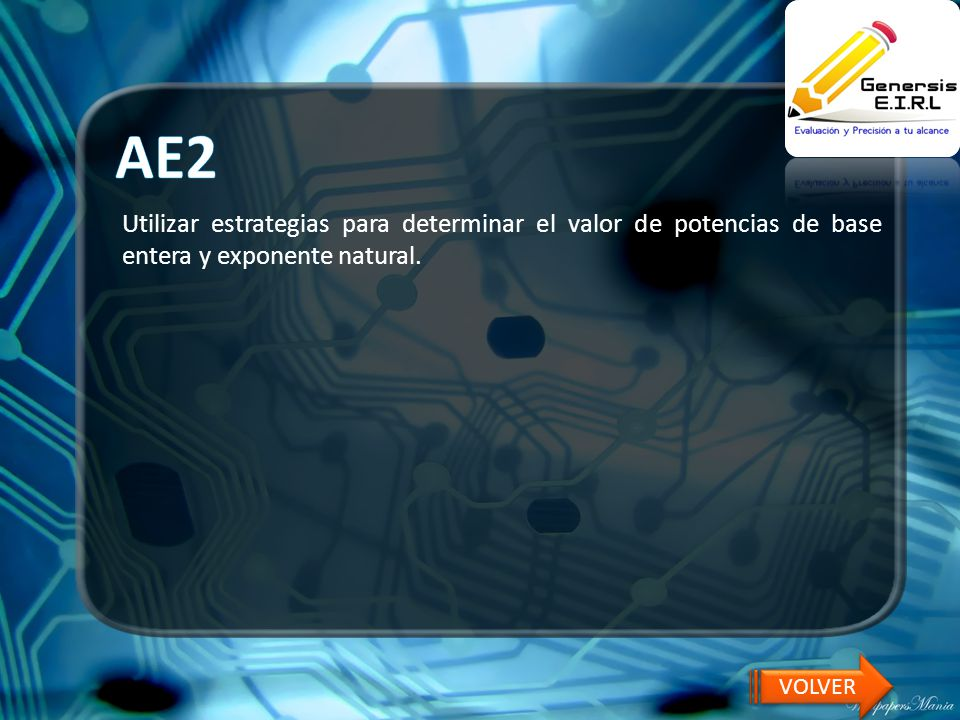 AE2 Utilizar estrategias para determinar el valor de potencias de base entera y exponente natural.