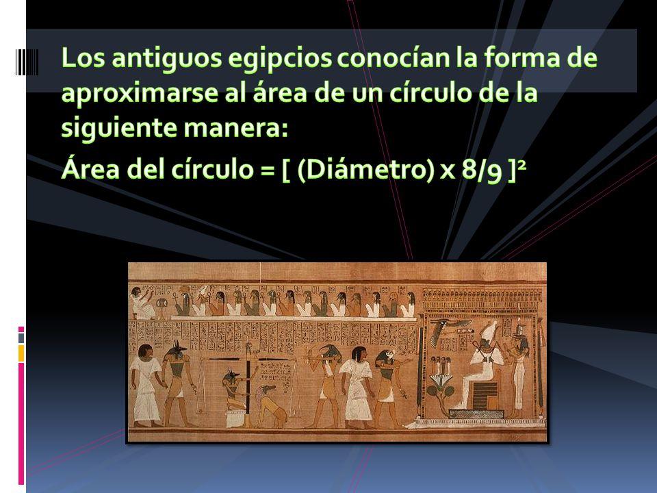 Los antiguos egipcios conocían la forma de aproximarse al área de un círculo de la siguiente manera: