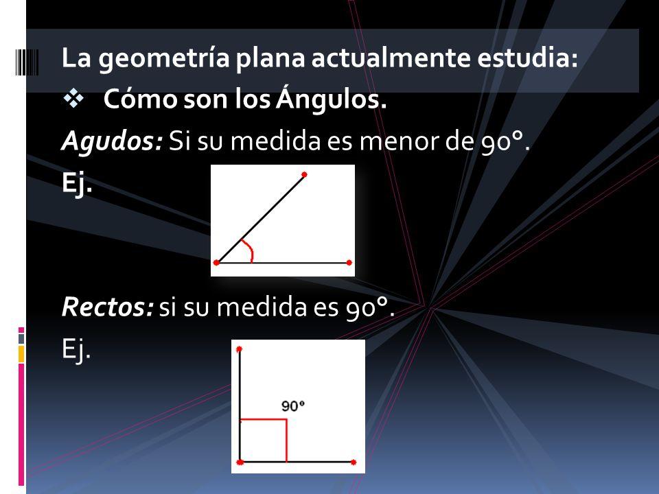 La geometría plana actualmente estudia: