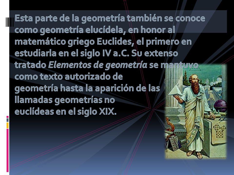 Esta parte de la geometría también se conoce como geometría elucídela, en honor al matemático griego Euclides, el primero en estudiarla en el siglo IV a.C.