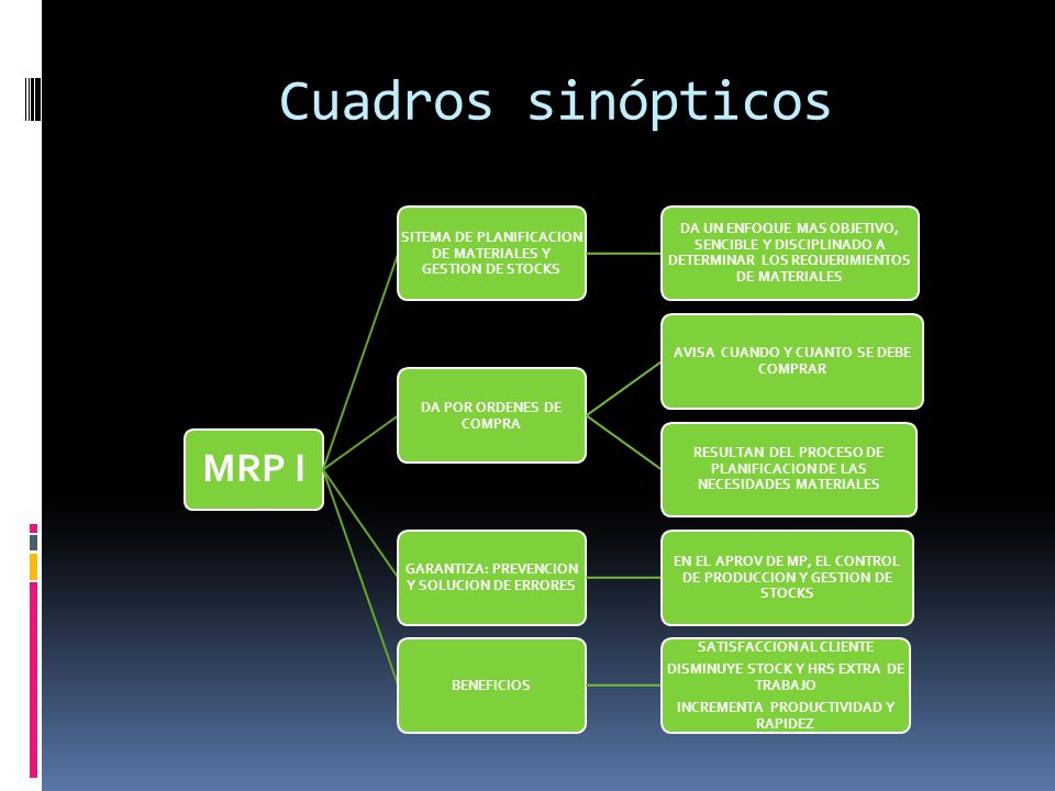 Cuadros sinópticos MRP I