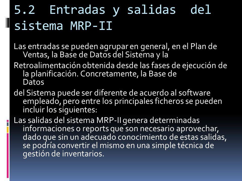 5.2 Entradas y salidas del sistema MRP-II