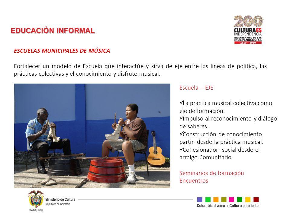 EDUCACIÓN INFORMAL ESCUELAS MUNICIPALES DE MÚSICA