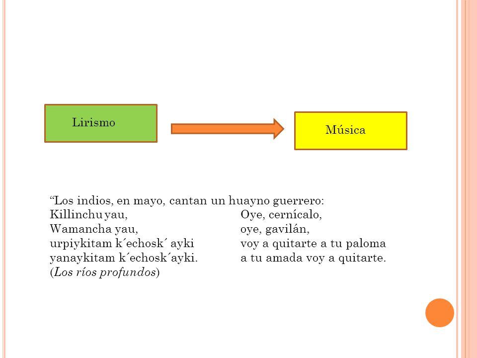 Lirismo Música. Los indios, en mayo, cantan un huayno guerrero: Killinchu yau, Oye, cernícalo,