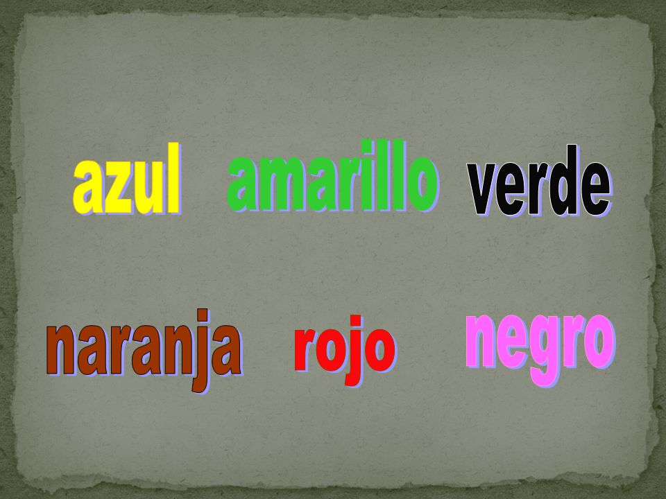 azul amarillo verde naranja rojo negro