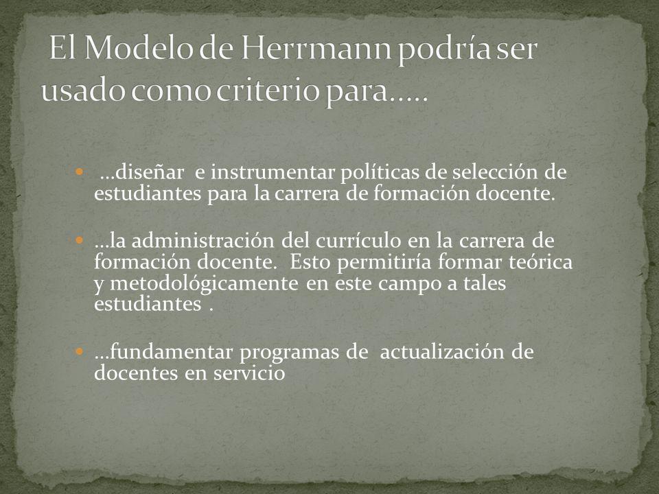 El Modelo de Herrmann podría ser usado como criterio para…..