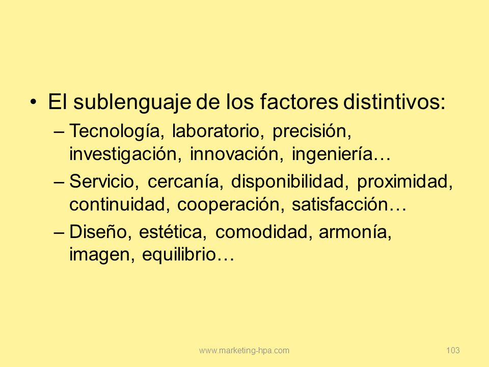 El sublenguaje de los factores distintivos: