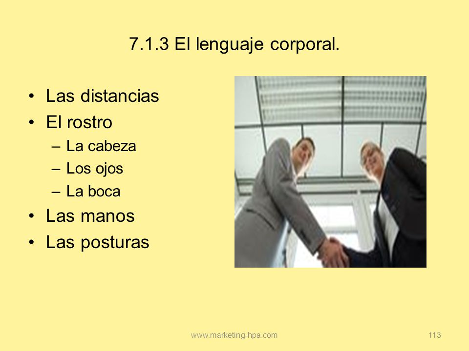 7.1.3 El lenguaje corporal. Las distancias El rostro Las manos