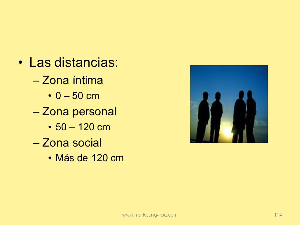 Las distancias: Zona íntima Zona personal Zona social 0 – 50 cm