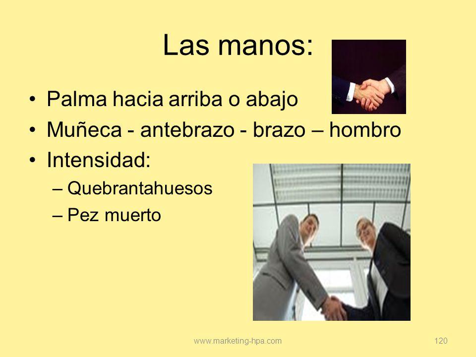 Las manos: Palma hacia arriba o abajo