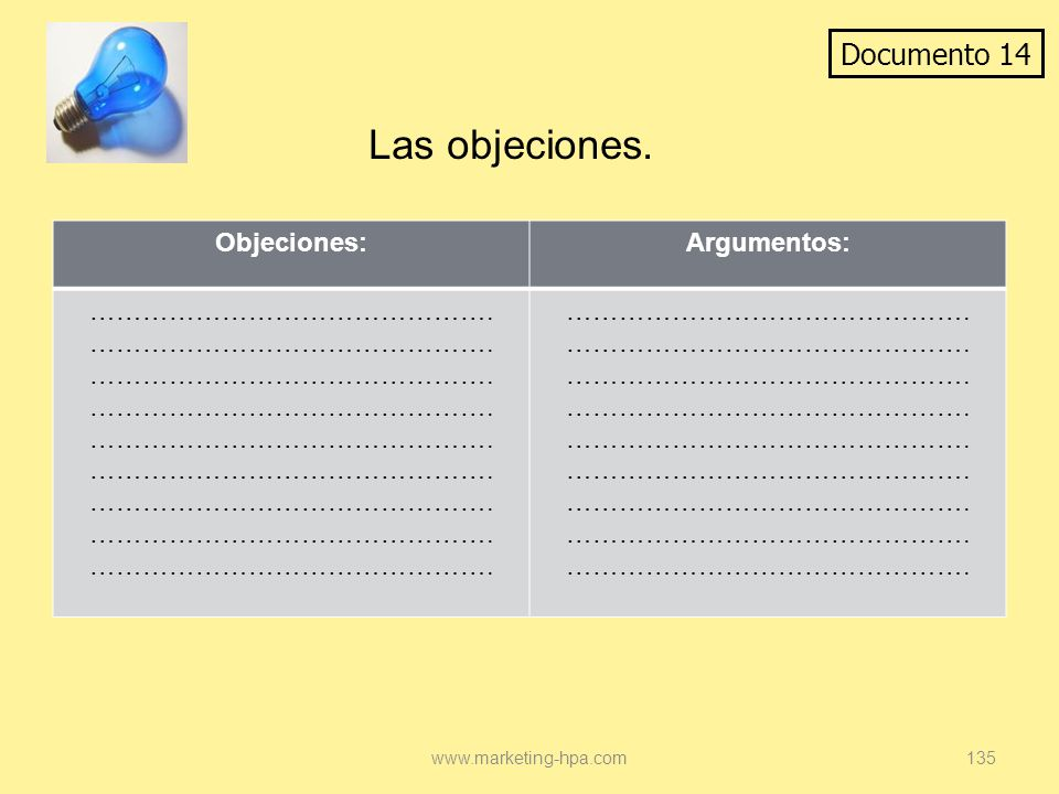 Las objeciones. Documento 14 Objeciones: Argumentos: ……………………………………….