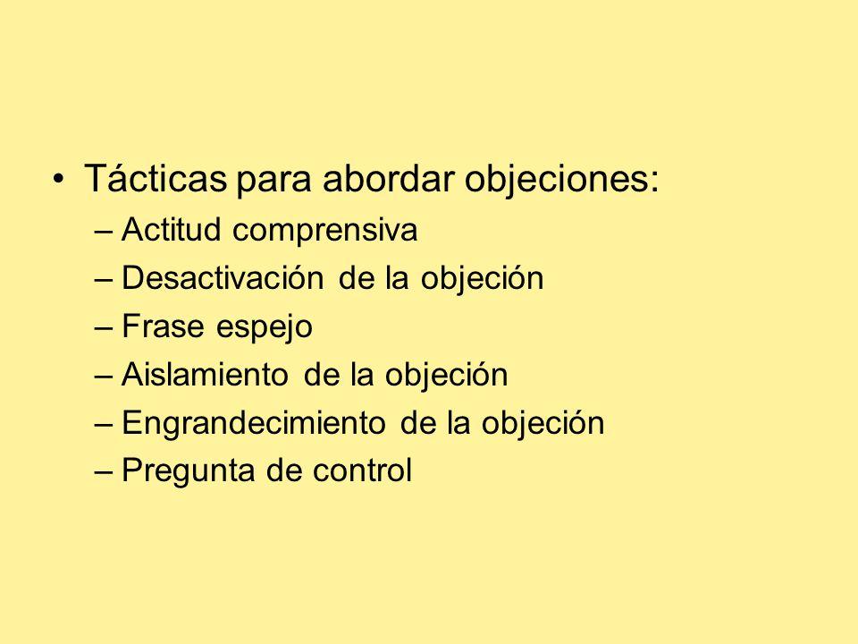 Tácticas para abordar objeciones: