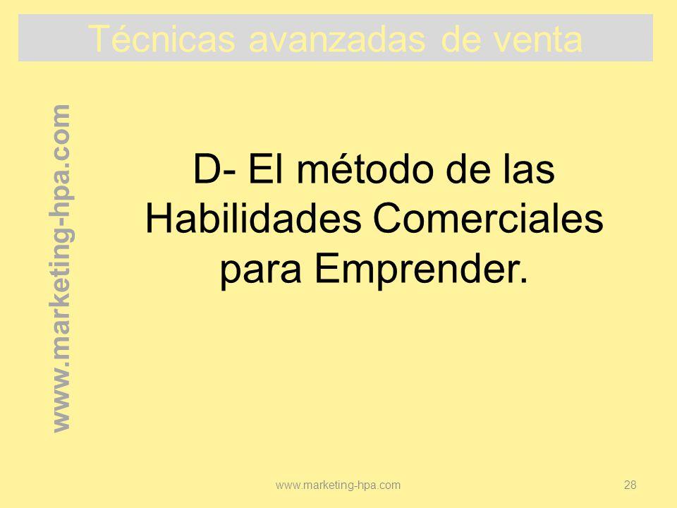 D- El método de las Habilidades Comerciales para Emprender.