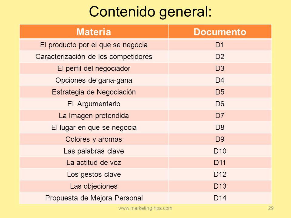 Contenido general: Materia Documento El producto por el que se negocia