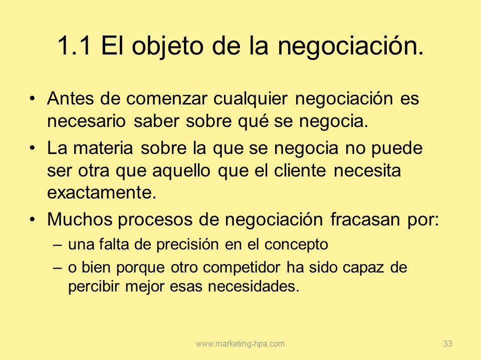 1.1 El objeto de la negociación.