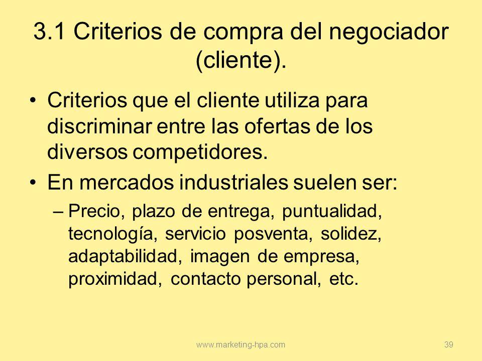 3.1 Criterios de compra del negociador (cliente).