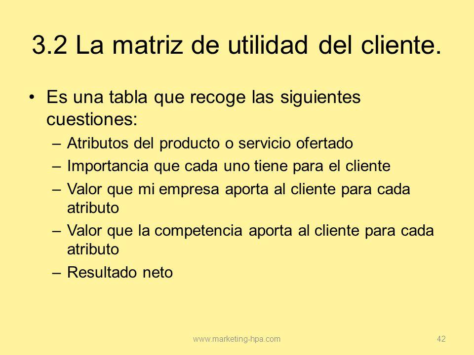 3.2 La matriz de utilidad del cliente.