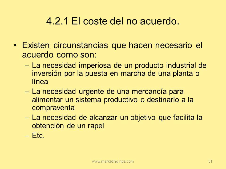 4.2.1 El coste del no acuerdo. Existen circunstancias que hacen necesario el acuerdo como son: