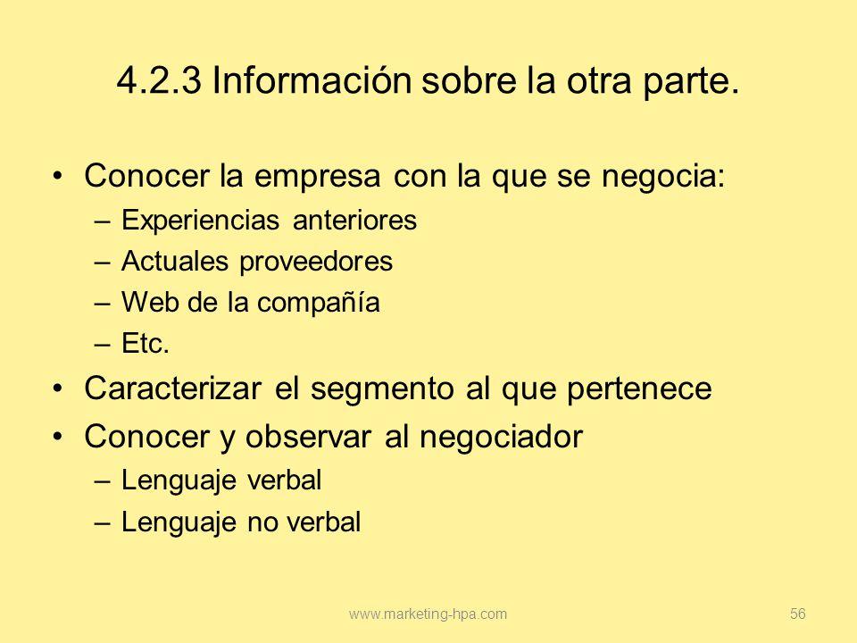 4.2.3 Información sobre la otra parte.